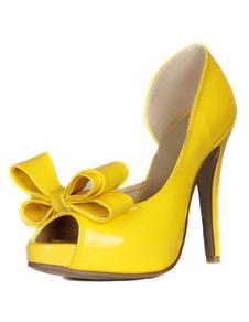 パンプス ピンヒール 靴の甲の素材:パテント PU ピープトゥシューズ ゴールド 12cm リボン セクシー シューズ プラスサイズシューズ パーティー キャバ 2次会 二次会 結婚式 ダンスパーティー レディース靴