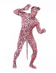 全身タイツ,トラ柄 目と口が開いている全身タイツ レッド 大人用 仮装コスチューム 尾付き ハロウィン