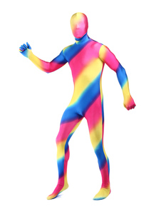 Costume Carnevale Multi Color Stripe Unisex Lycra Spandex Zentai Multicolor tute