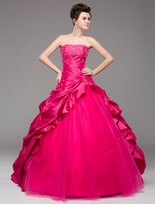 Vestido Princesa silhueta Cor de Rosa Hot tafetá bordado Strapless