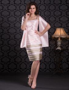 Bainha-de-rosa correias pescoço joelho-comprimento vestido de Cocktail com Beading Vestidos de Convidados para Casamento