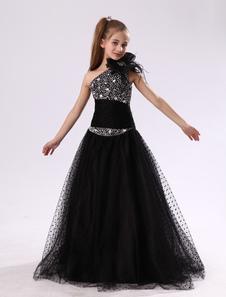 زهرة فتاة الالبسه عام2020 أسود واحد كتف وصيفة الشرف حجر الراين مطرز الاطفال اللباس المسابقة