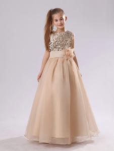 Vestidos de Floristas de champán con lentejuelas Vestido de primera comunión de oro con flores Vestido de niña de las flores largo Vestido largo
