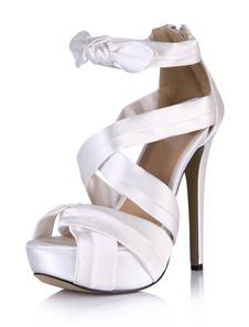 Sexy branco imitado seda salto agulha Gladiator Sandals para mulher