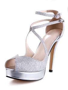 Mulheres Sandálias De Prata De Salto Alto Sandálias Glitter Plataforma Peep Toe Criss Cross Partido Sapatos