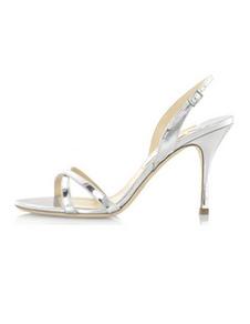 Sandálias de noivas PU couro salto agulha