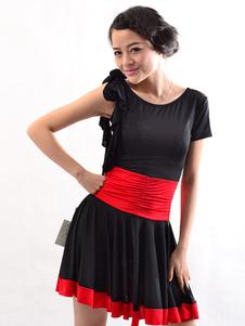 Traje de dança latina Rayon mangas assimétricas mulher de preto