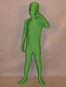 全身タイツ グリーン 単色 子供用 変装コスチューム 開口部のない全身タイツ ユニセックス  ハロウィン