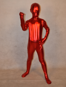 Красный блестящий металлик тела унисекс для детей моды Зентаи  Хэллоуин
