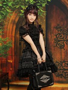 Gótico em camadas de roupas Lolita preta de mangas curtas