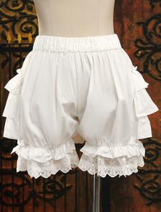 Bianco puro cotone Ruffles Lolita carino pantaloni