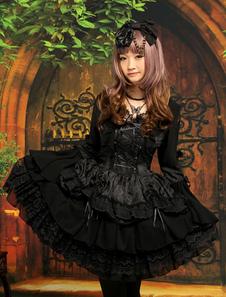 Vestidos de Lolita 2020 Clásico Negro Lolita Una Pieza Vestido Largas Mangas Encaje Capas