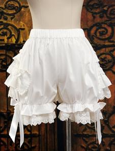 Симпатичный белый хлопок Лолита шаровары многоуровневые оборками кружевной отделкой лук ленты
