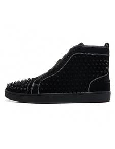 Negro Zapatillas de Deporte de Gamuza para Hombre 2020 Punta Redonda con Remaches de Encaje Zapatos de Patín de Caña Alta Zapatos con Remache
