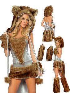 Симпатичные Тан животных печати Терри женский костюм Женщины-кошки  Хэллоуин