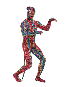 Costume Carnevale Lycra Spandex leopardo stampa occhi aperti Unisex speciale Lycra Zentai animali