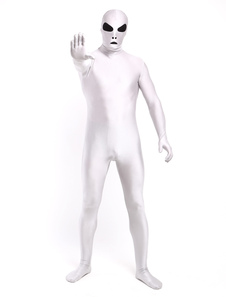 全身タイツ ホワイト ユニセックス 大人用 開口部のない全身タイツ 変装コスチューム カラーブロック  ハロウィン