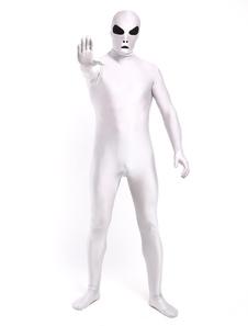 Traje alienígena do dia das bruxas Lycra branca Spandex corpo inteiro unisex multicolor Zentai ternos