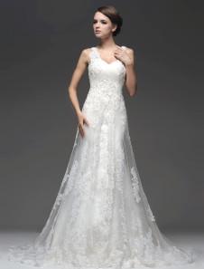 Элегантный Кот блестками рукавов Тюль-Line свадебное платье