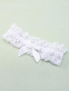 Liga de encaje blanco con lazo