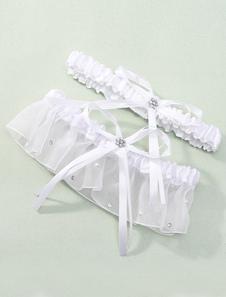 Liga de encaje y satén de color blanco con lazo