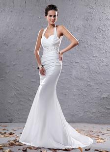 Сексуальная Белый Холтер бисером Русалка свадебное платье из органзы