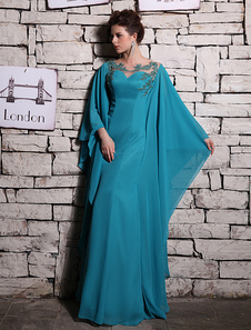 Abbigliamento da sera elegante ricamato in chiffon blu con perline e coda da sirena a terra  Abiti per Ospiti di Matrimonio Milanoo