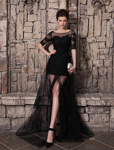 Abito da Sposa Nero Abito da sera elegante lussuoso di pizzo in tulle nero con strascico Milanoo