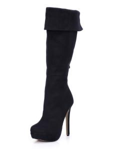 أسود جولة تو خنجر كعب تيري الساحرة في الركبة طول الأحذية