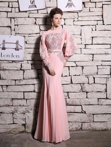 Rosa sereia vestido de noite frisado vestido de baile de strass Milanoo