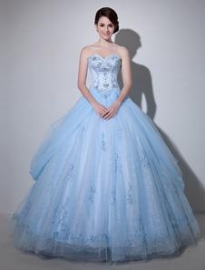 فستان الزفاف الأزرق الدانتيل الكرة ثوب الطابق طول حبيبته حمالة الديكور الأميرة ثوب الزفاف ميلانو