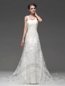 Ремни суд поезд слоновой кости шеи-Line Плиссированные свадебное платье