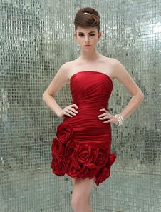 Flor vermelha bainha Strapless vestido tafetá de graça para mulheres