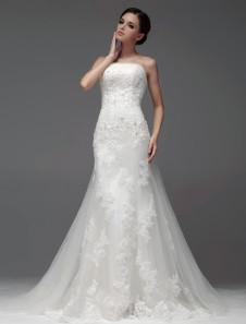 Панель поезд слоновой кости Русалка бисером тюль невесты свадебное платье без бретелек дизайн