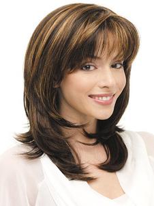 Natural castanho encaracolado tradicional sintético médio peruca para mulheres