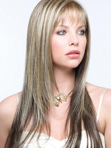 Luz em linha reta Tan moda urbana sintética longa peruca