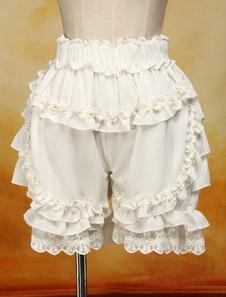 ЭКРИ белого хлопка Лолита шорты кружевной отделкой оборками
