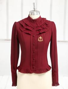 قميص لوليتا الأكمام الطويلة الشيفون أحمر داكن Hime