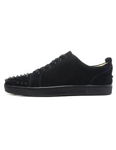 Exclusivo monograma preta camurça redonda Toe Studded sapatilhas para homem