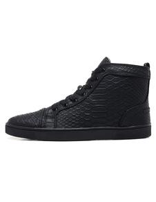 Sapatos de skate preto 2020 homens de alta tênis de couro rodada toe rendas até sapatos casuais