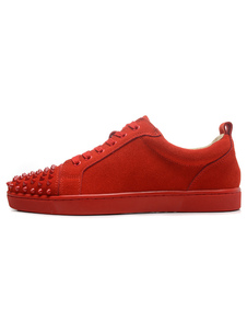 Homens Skate Sapatos Camurça Red Round Toe Lace Up Sneakers