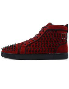 Sapatos de Spike Homens 2020 Sapatos de Skate de Alta Top Red Rodada Toe Rebites Lace Up Sneakers