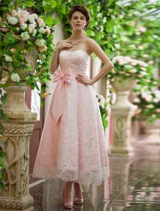 編み上げレース茶長さ美しいウェディング レセプション ドレス a ライン Milanoo