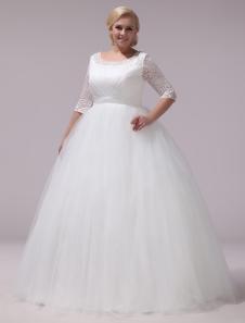 Vestido de noiva plus em linha-A gola redonda Cintura Natural Fecho de tule cauda até ao chão com mangas de 1/2