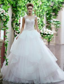 Abito da sposa elegante floreale in tulle con collo rotondo e lo strascico