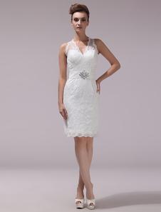 Vestido de novia de encaje con cuello en V hasta la rodilla Milanoo