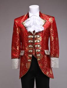 الزي الأحمر زي جاكار الأوروبية الملكي خمر الأمير ريترو زي الرجال