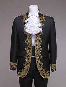 Roupa de traje real do Vintage barroco Príncipe traje preto estilo europeu masculino Halloween
