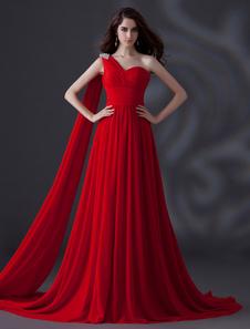 Red One-spalla strass pizzo abito da sera in Chiffon