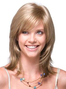 Lado loiro natural fibra resistente ao calor médio peruca de despedida para as mulheres